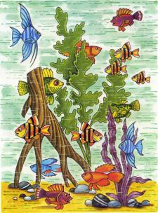 Kiek akvariume plaukioja žuvelių?